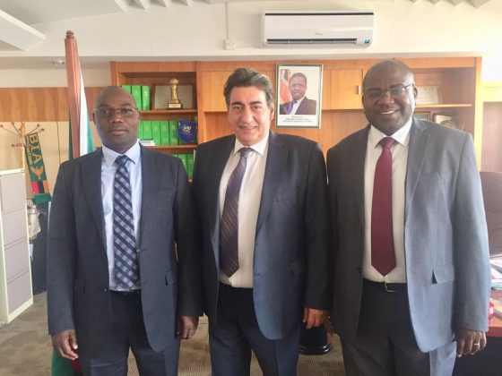 Georgios Makropoulos with Minister of Youth and Sport Moses Mawere and Minister of Health Dr Chilufya